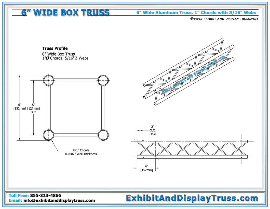 6_inch_wide_box_truss_Dimensions_visual_exhibits_aluminum_truss_tradeshow 6\u2033 wide box truss linear truss lengths and pricing light design