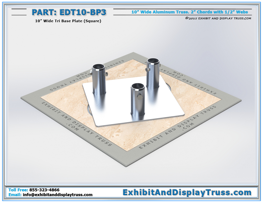 PART: EDT10-BP3 / 10″ Wide Tri Base Plate