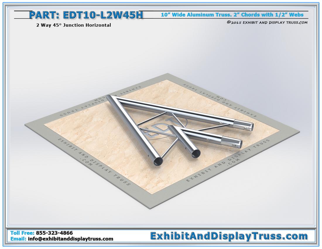 PART: EDT10-L2W45H / 10″ Wide 2 Way 45° Junction Horizontal