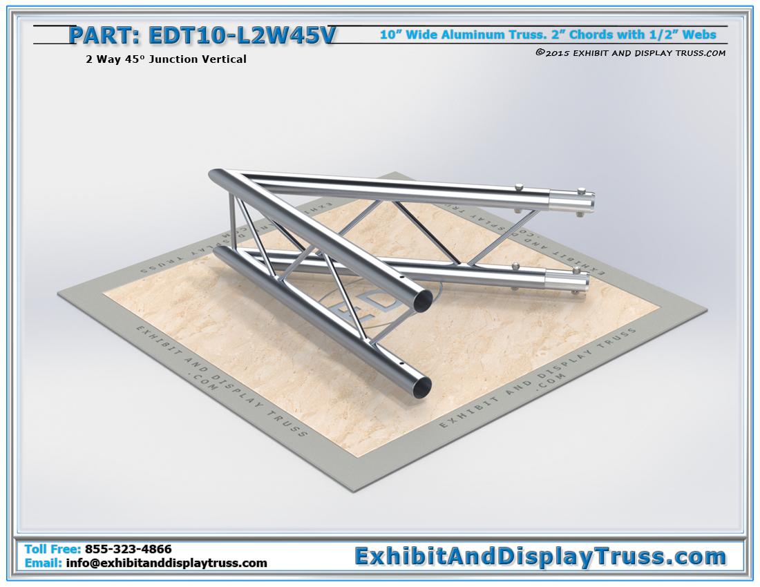 PART: EDT10-L2W45V / 10″ Wide 2 Way 45° Junction Vertical