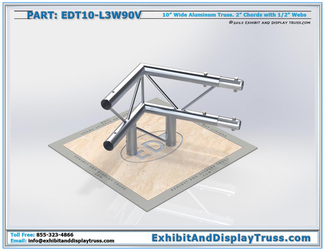 PART: EDT10-L3W90V / 10″ Wide 3 Way 90° Junction Vertical