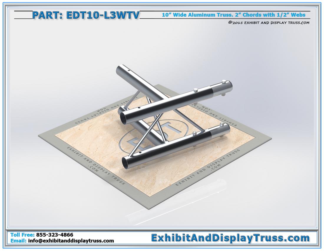 """PART: EDT10-L3WTV / 10″ Wide 3 Way 90° """"T"""" Junction Vertical"""