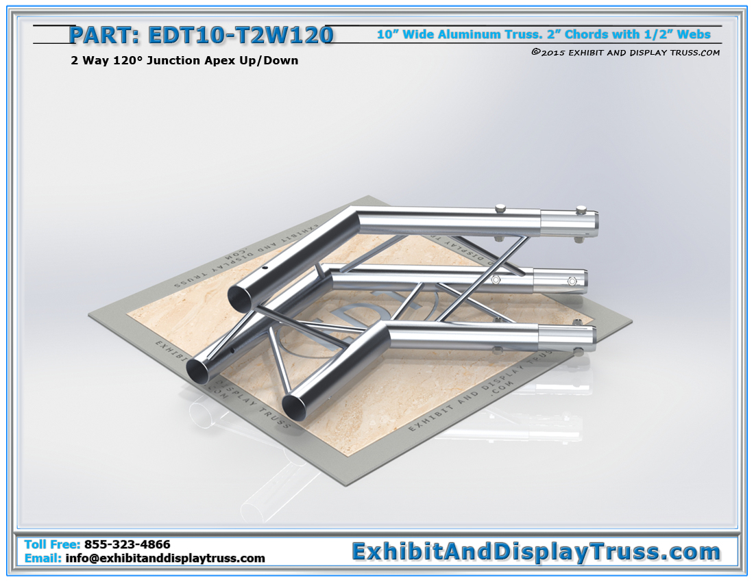 PART: EDT10-T2W120 / 10″ Wide 2 Way 120° Junction Apex Up or Down