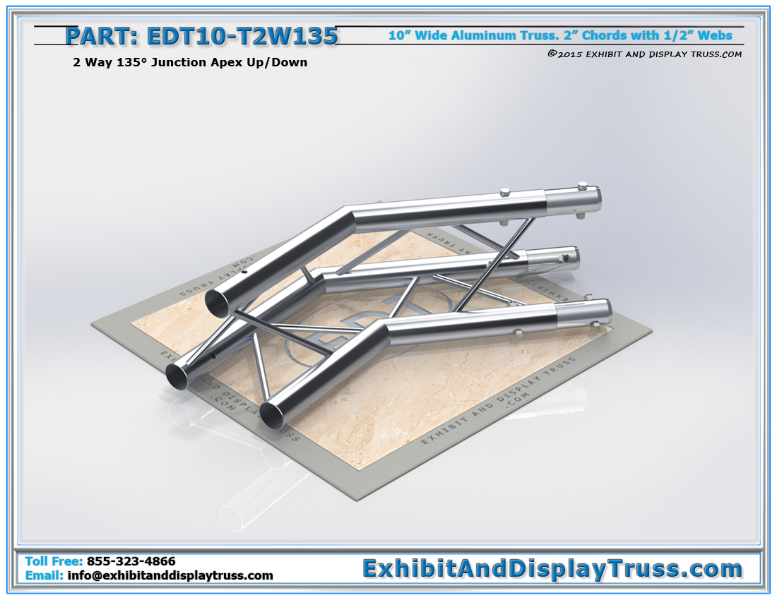 PART: EDT10-T2W135 / 10″ Wide 2 Way 135° Junction Apex Up or Down