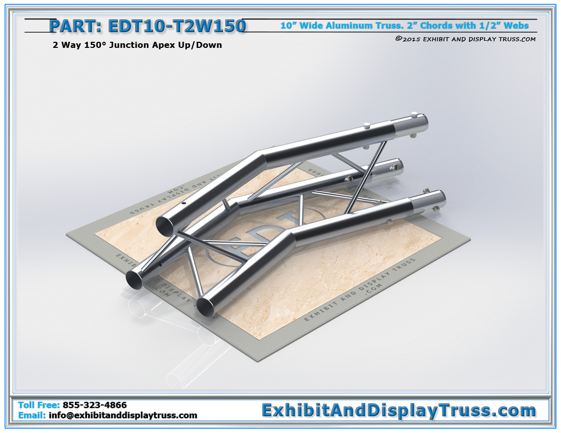PART: EDT10-T2W150 / 10″ Wide 2 Way 150° Junction Apex Up or Down
