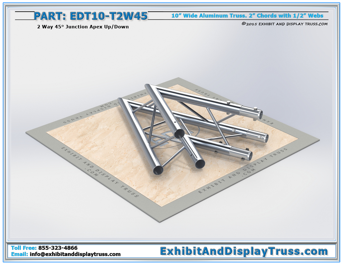 PART: EDT10-T2W45 / 10″ Wide 2 Way 45° Junction Apex Up or Down