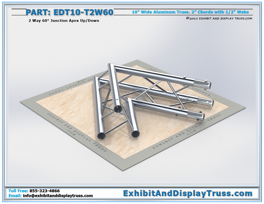 PART: EDT10-T2W60 / 10″ Wide 2 Way 60° Junction Apex Up or Down