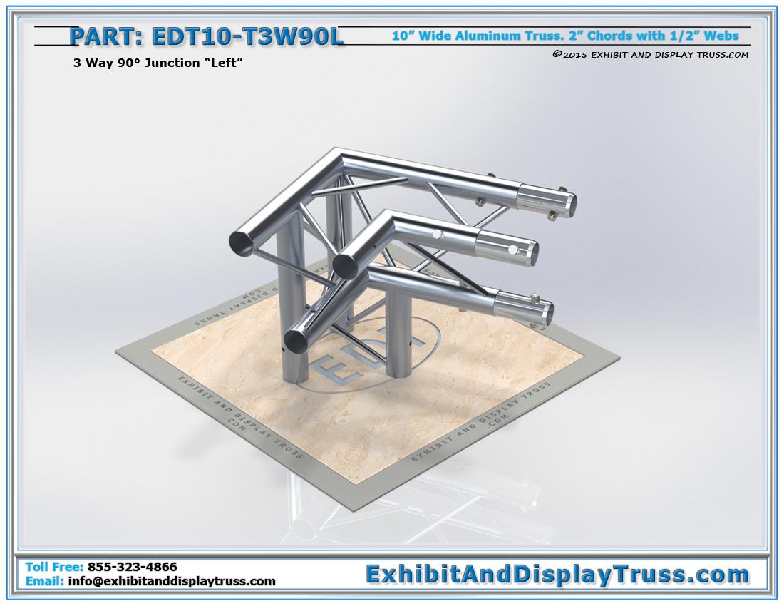 PART: EDT10-T3W90L / 10″ Wide 3 Way 90° Junction Left