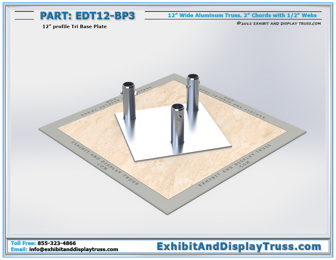 PART: EDT12-BP3 / 12″ Wide Tri Base Plate