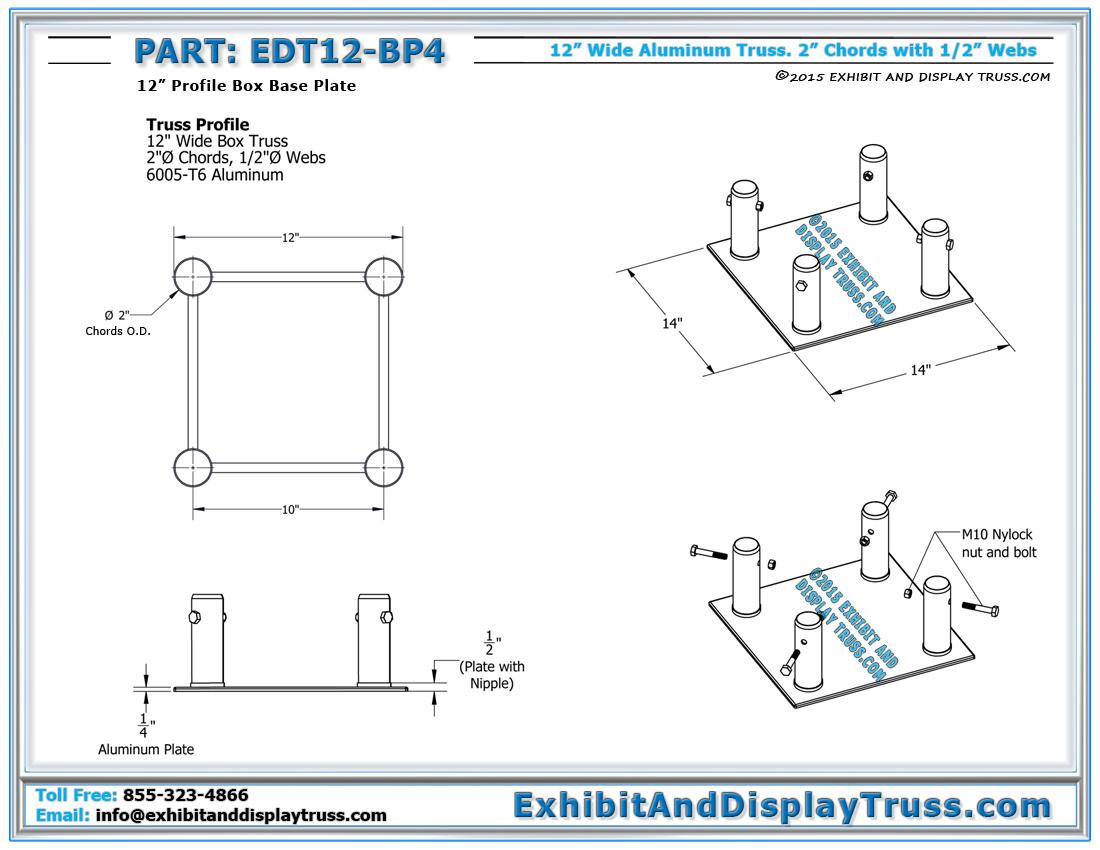 EDT12_BP4_Dimensions_booth_design part edt12 bp4 12\u2033 wide box base plate light design systems