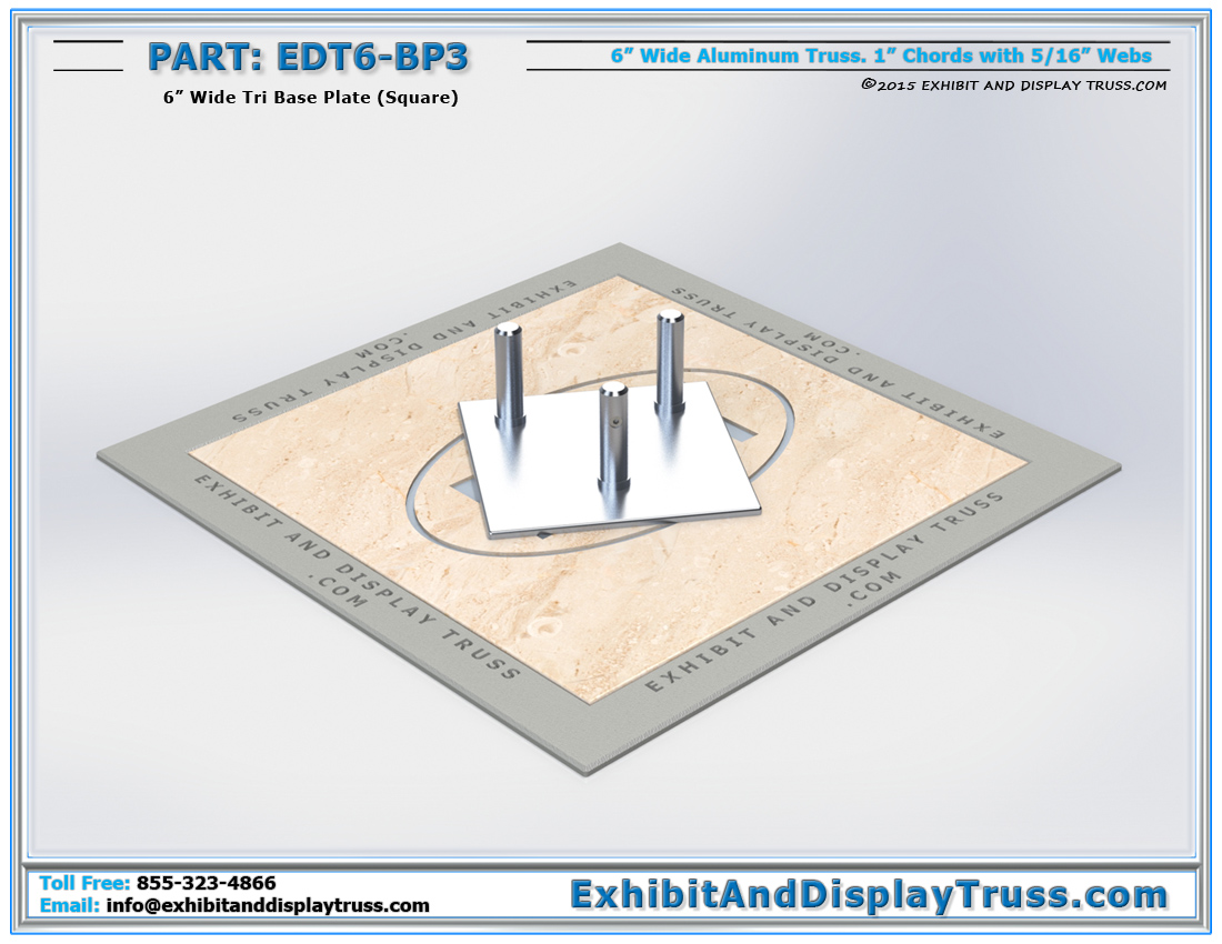 PART: EDT6-BP3 / 6″ Wide Tri Base Plate