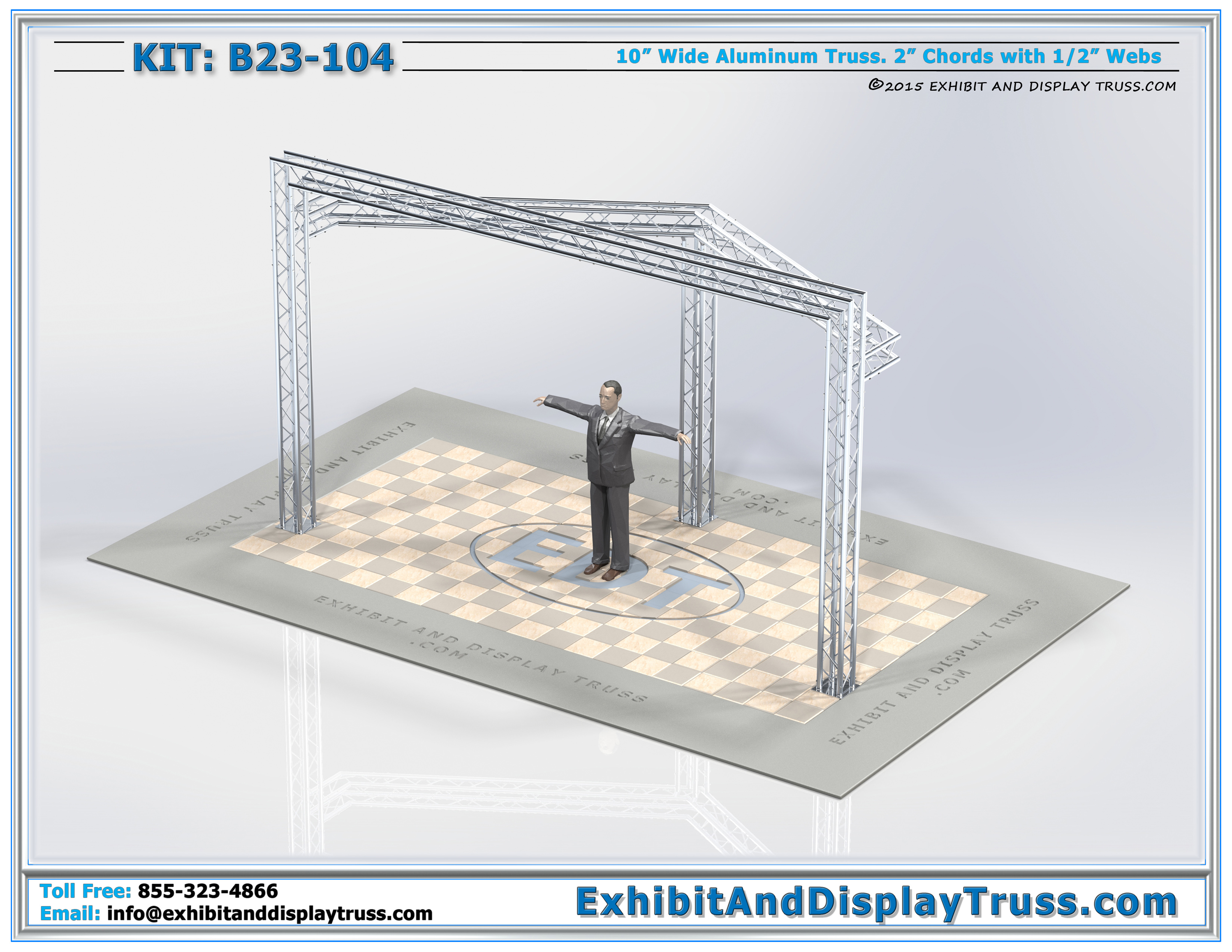 Trade Show Booth Dimensions : Kit b portable aluminum truss trade show for