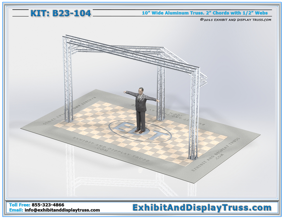 Kit: B23-104 / Portable Aluminum Truss Trade Show Kit for Monitors, Banners, Signage