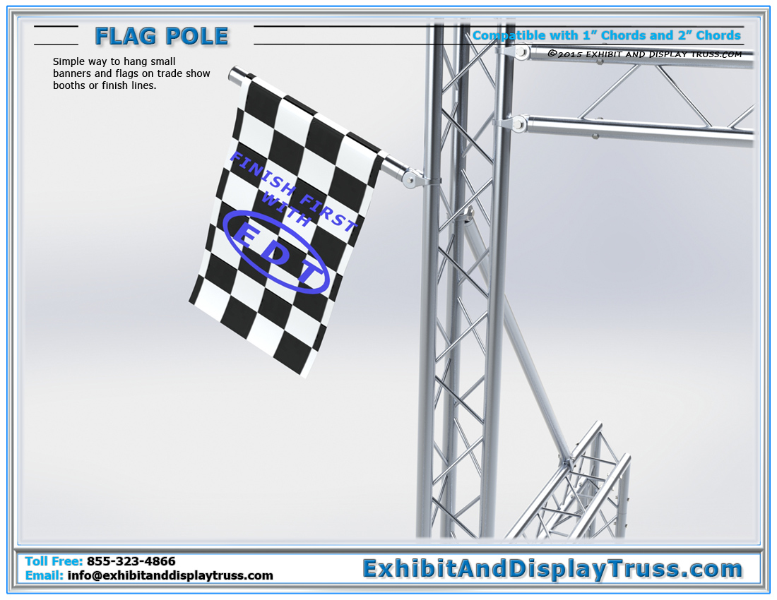 Flag Pole / Detachable Tube for Small Banners and Racing Flags for Finish Lines and Trade Show Booths