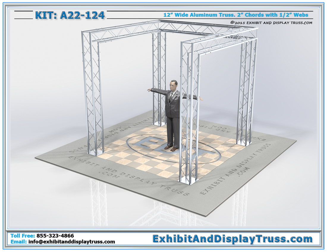 Kit: A22-124 / Modern Lightweight Tradeshow Display Booth for Banner Display