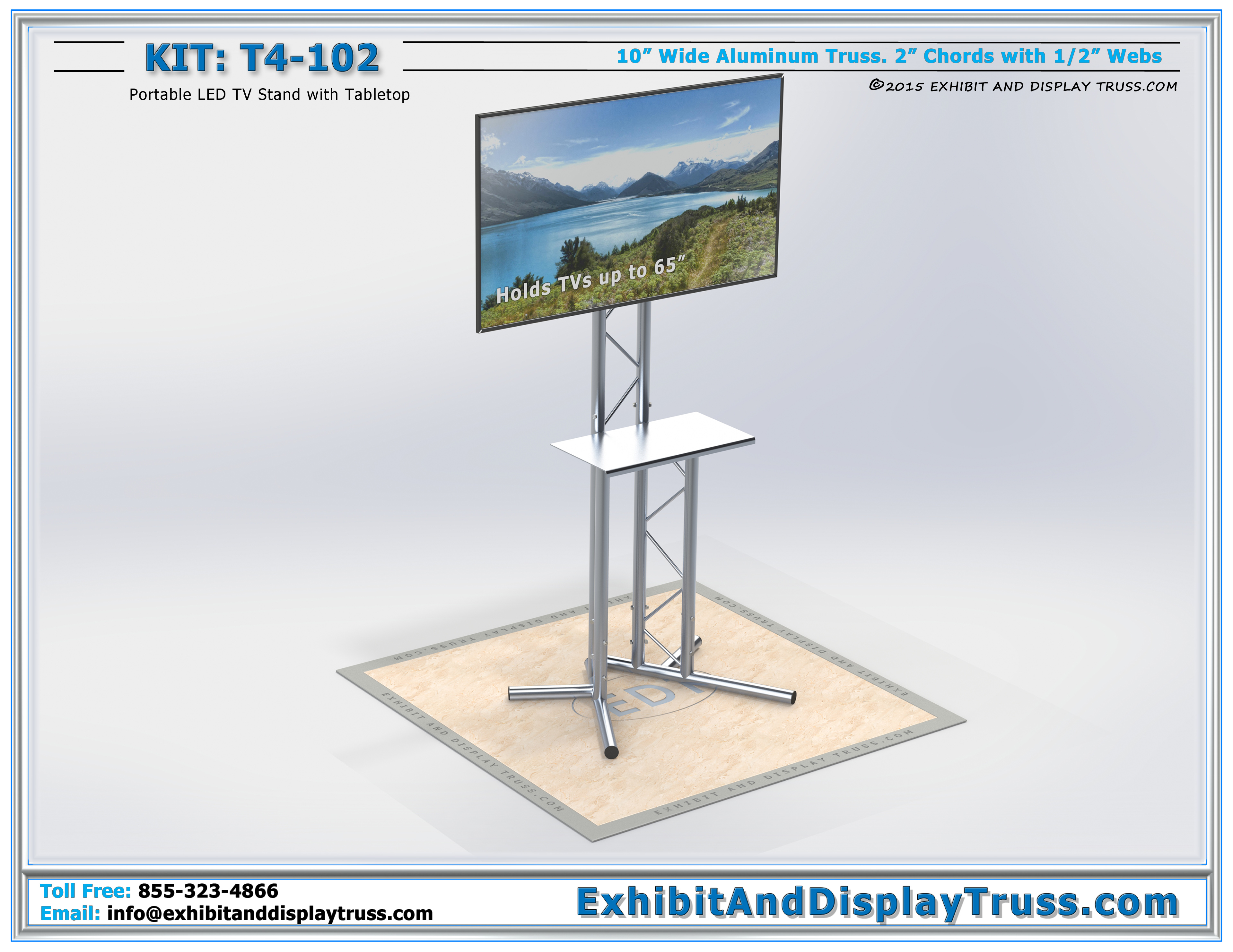 T4 102 Portable Led Tv Stand And Flatscreen Monitor Stand Portable