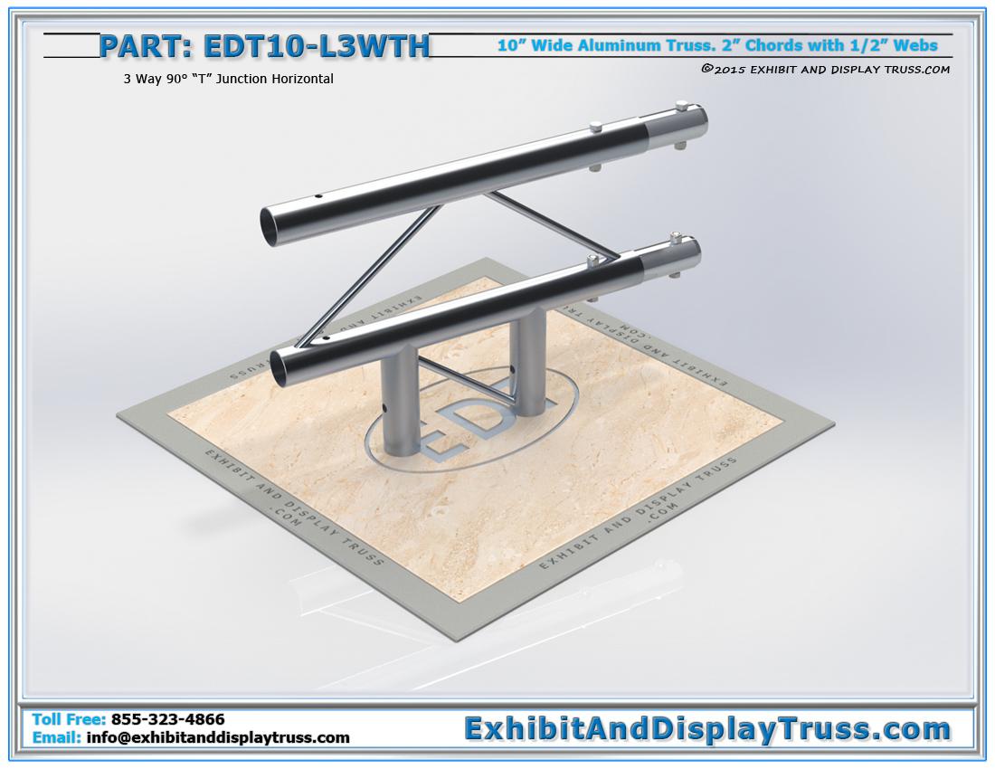 "PART: EDT10-L3WTH / 10″ Wide 3 Way 90° ""T"" Junction Horizontal"