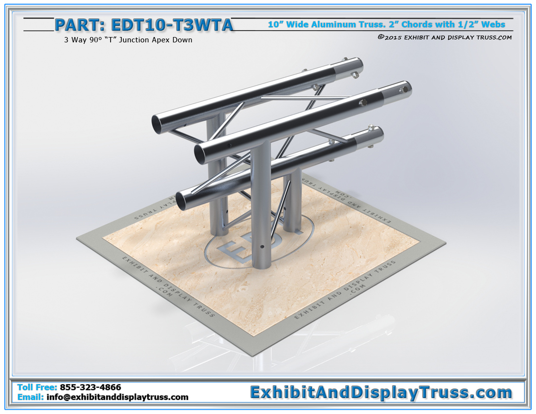 "PART: EDT10-T3WTA / 10″ Wide 3 Way 90° ""T"" Junction Apex Down"