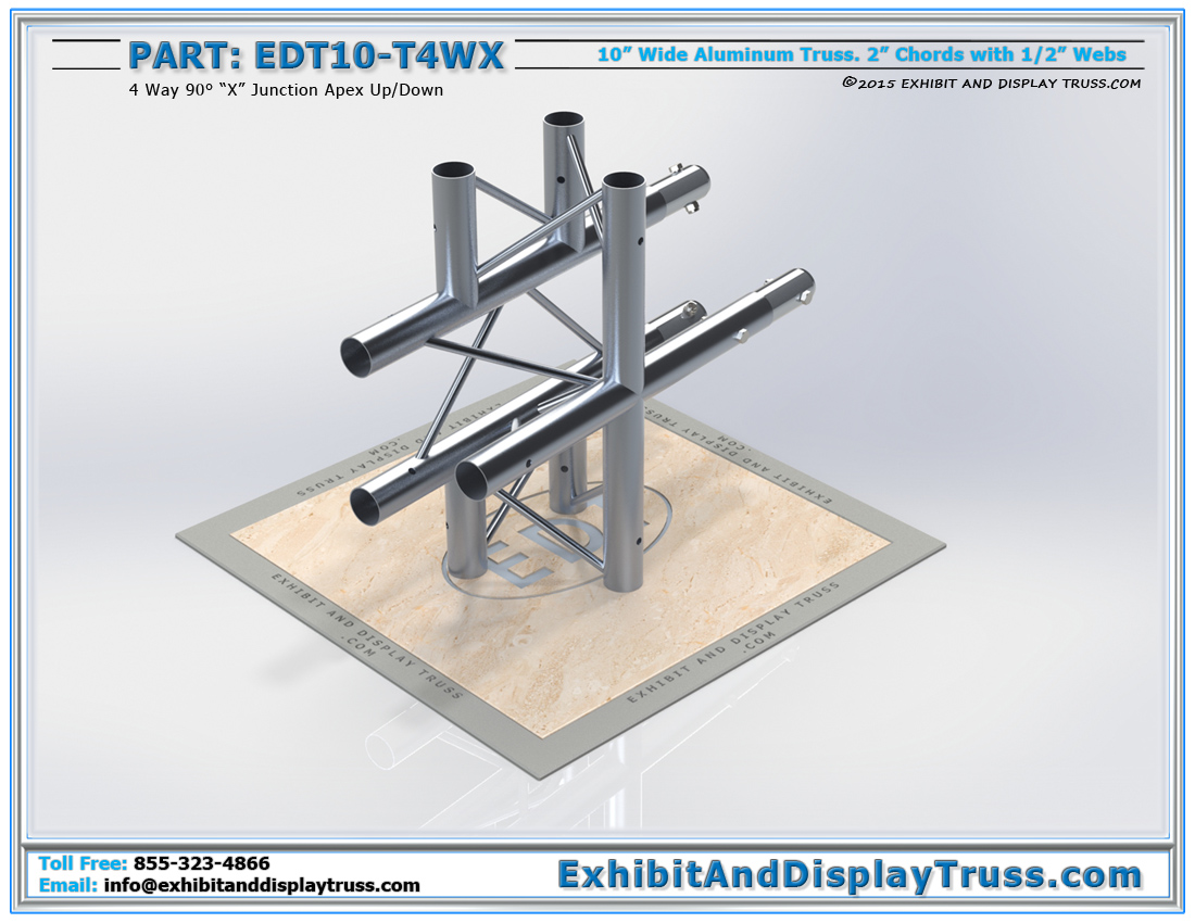 """PART: EDT10-T4WX / 10″ Wide 4 Way 90° """"X"""" Junction Apex Up or Down"""