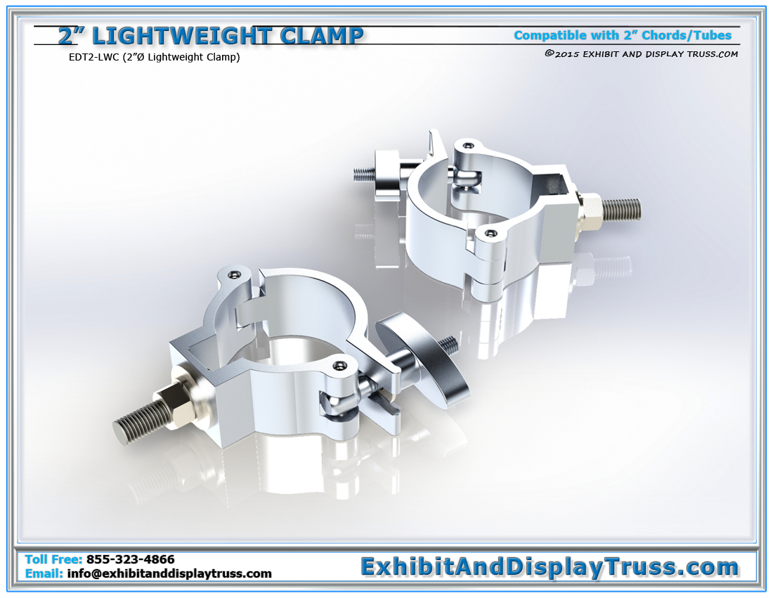Lightweight Medium Duty Clamps for 2″ Tubes / Mounting and Attaching Banners, TVs, Truss Accessories